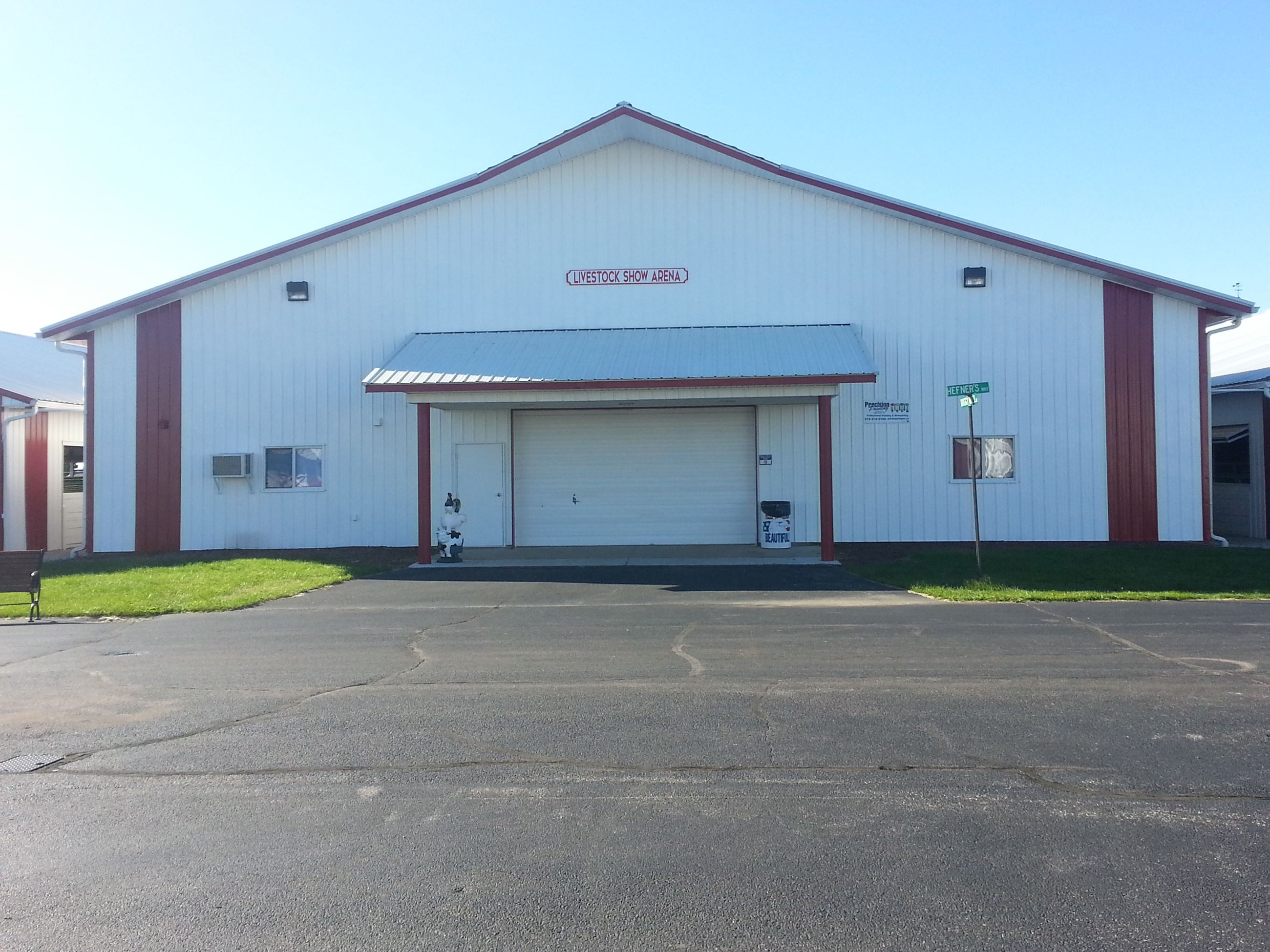 Front of livestock show arena building at Porter County Expo Center