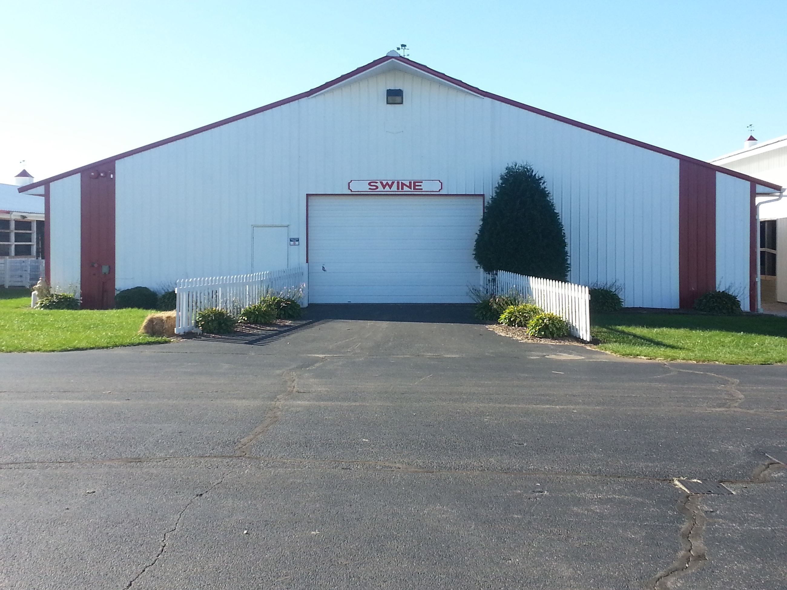 Front of swine barn building at Porter County Expo Center